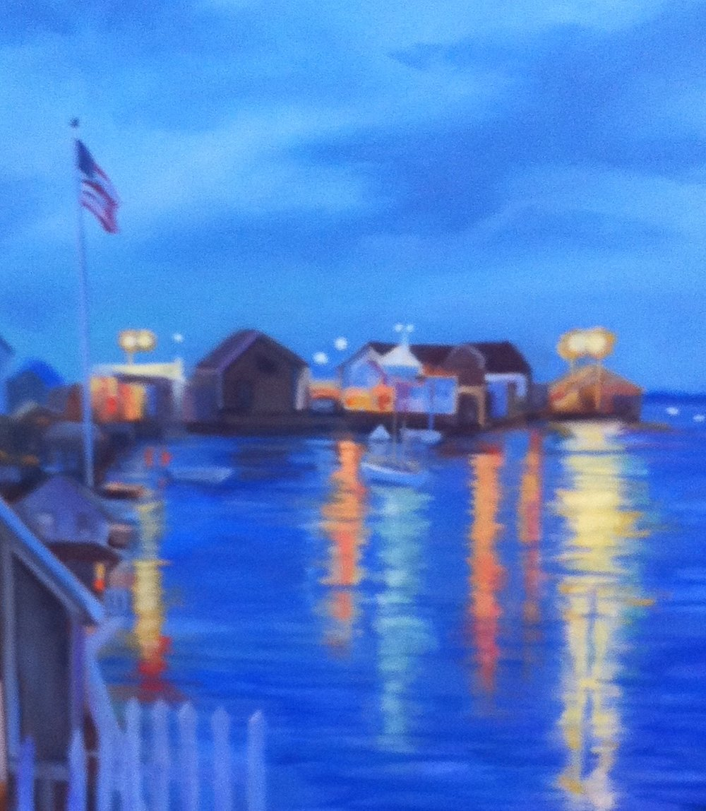 """Nantucket Harbor Nights"" oil 26""X22"""