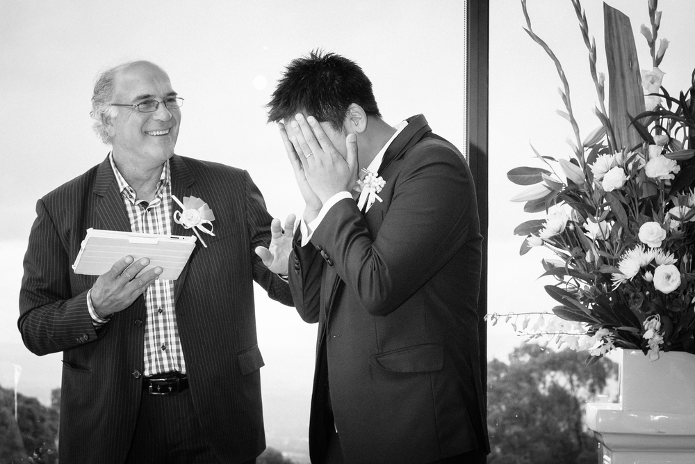 An overwhelmed Groom. Emotions flow just before his Bride arrives.