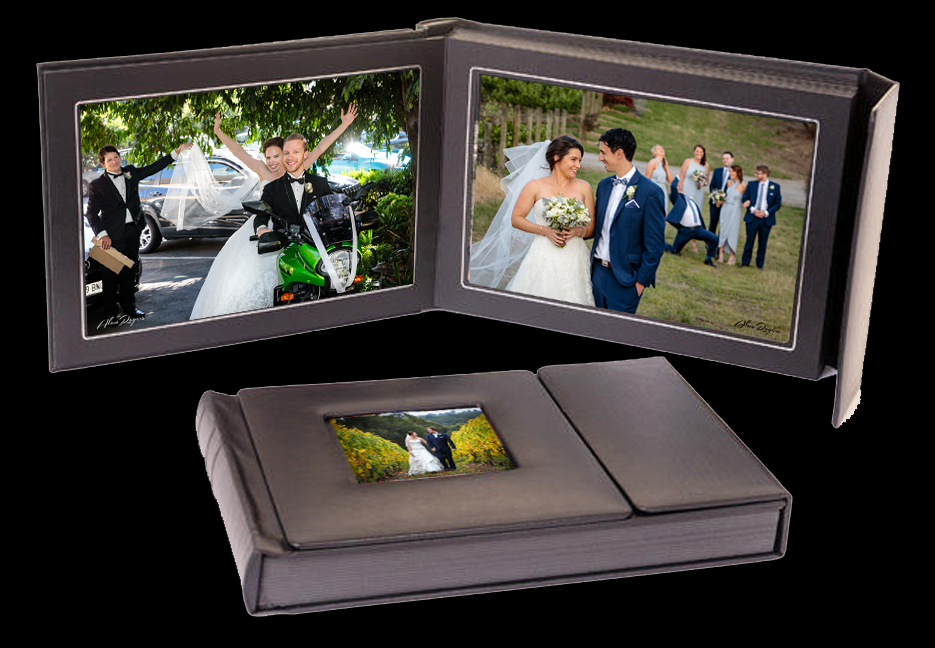 Every Bride and Groom deserves a Wedding Album to have forever, their first family heirloom. This 30 page, high quality printed and matted album (valued at $650) is FREE with any wedding photography package of 8 hours or more.