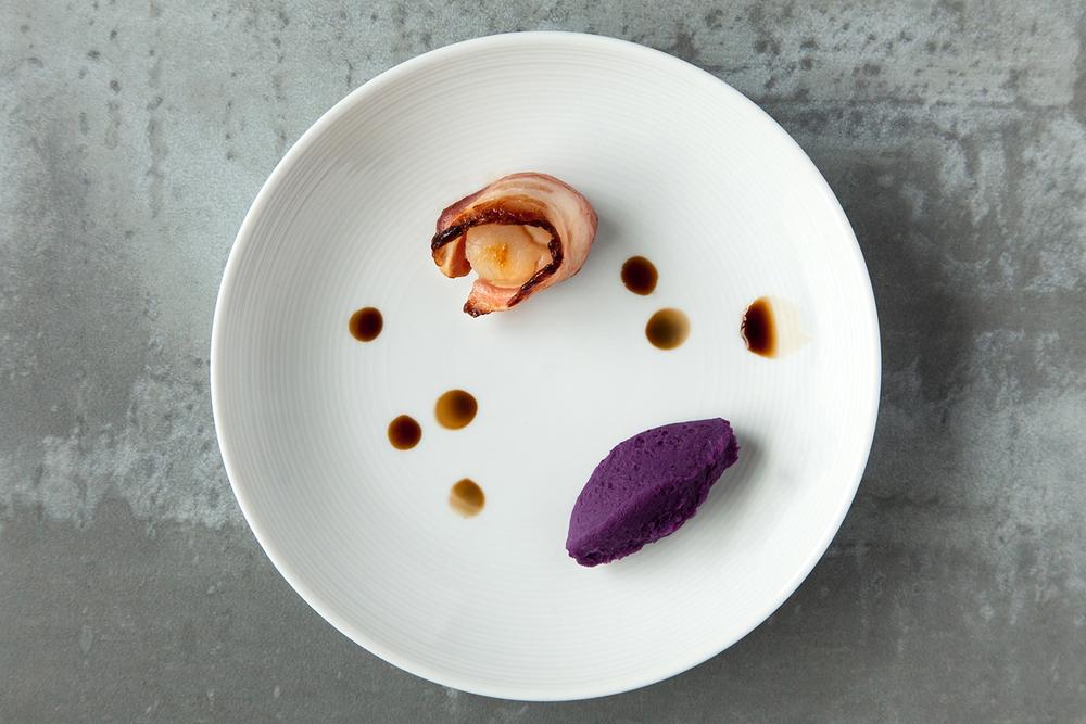 煎干貝佐紫泥醬