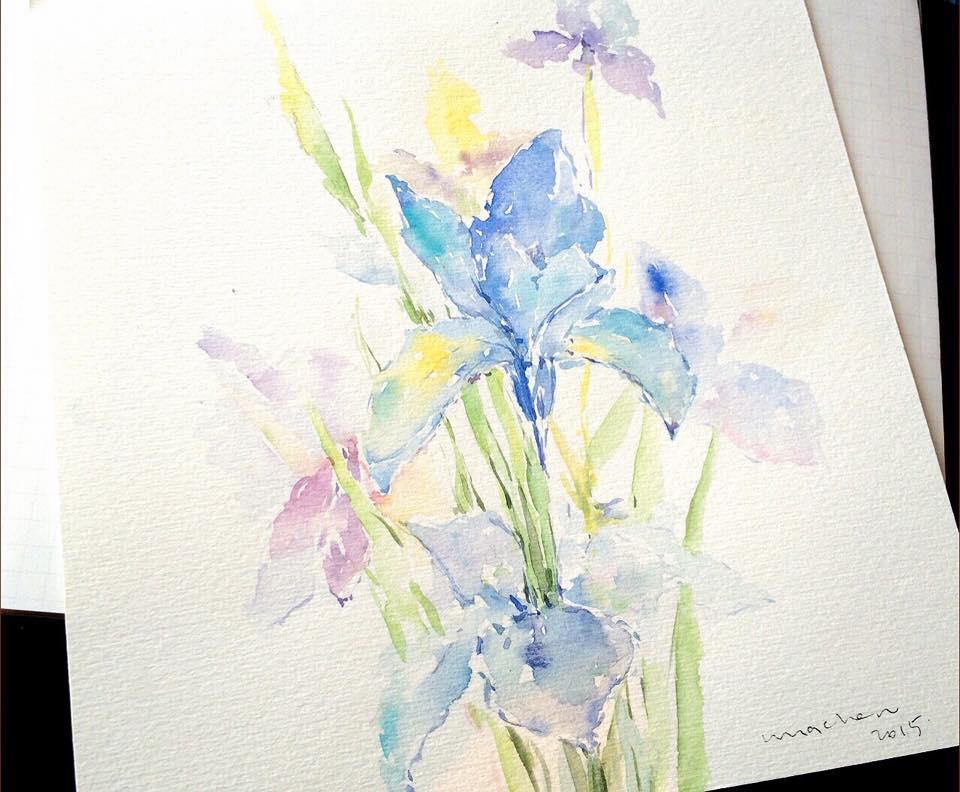 花:祝福是最好的語言,願平靜與愛透過畫傳遞到緣份的那端。