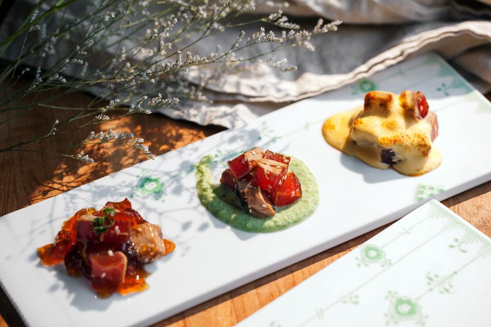 霜降鮪魚搭三種醬汁(青毛豆醬、土佐醋醬、黃味噌醬)