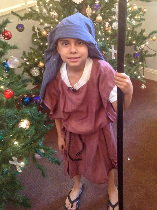 Joaquin dressed as a Biblical character for a church play.