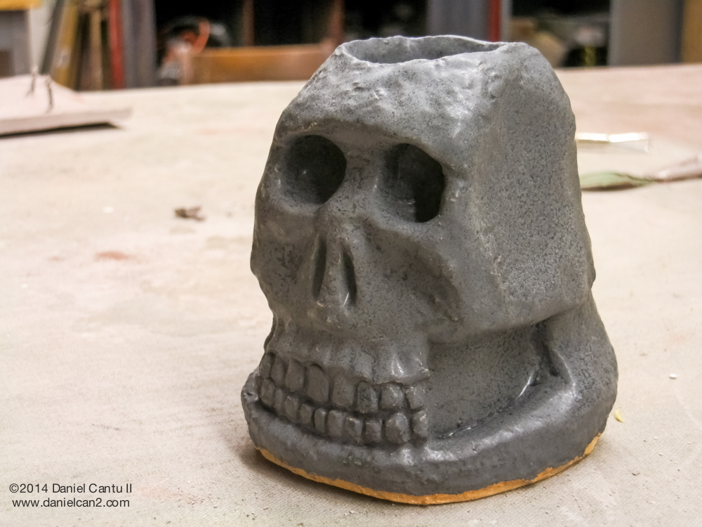 The ceramic skull cup that I made for Joaquin.