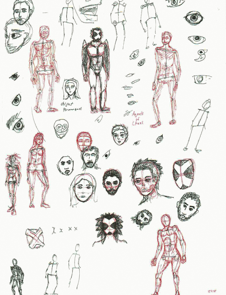 2014 Doodles: basic human forms and faces.