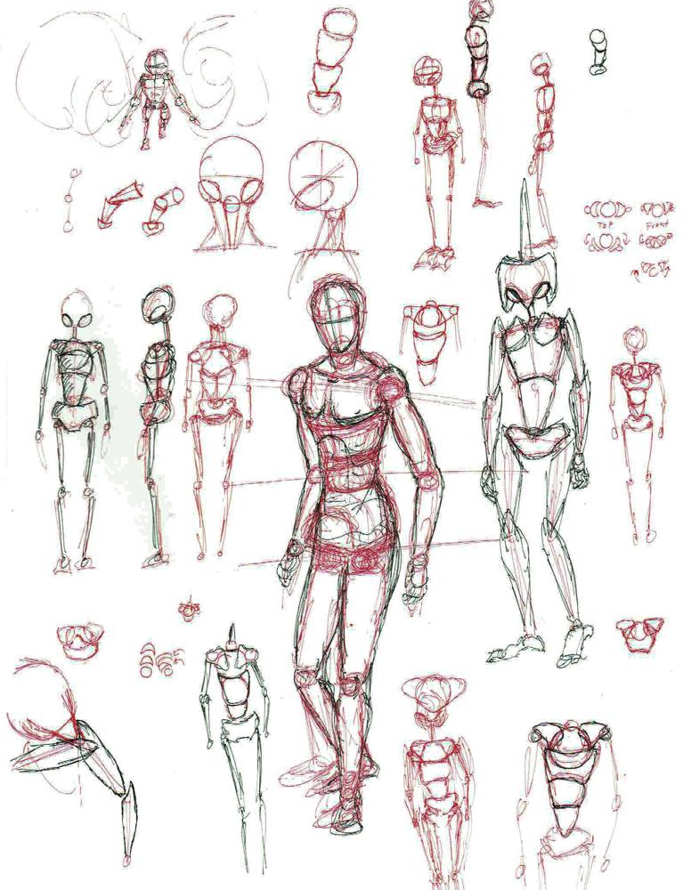 2014 Doodles: Robot redo concepts.