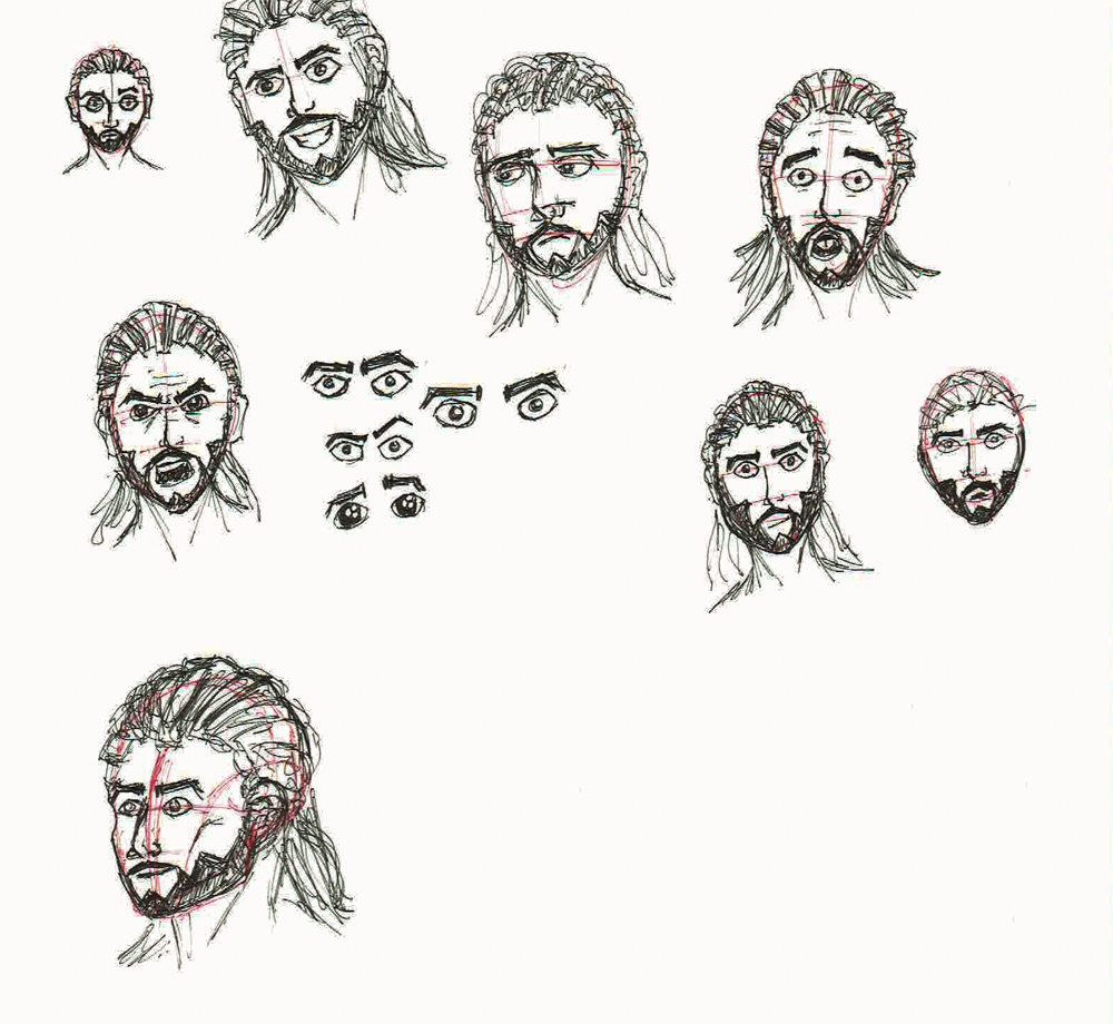 2014 Doodles: Sketches of a man, but none look like the same guy. *sad face*