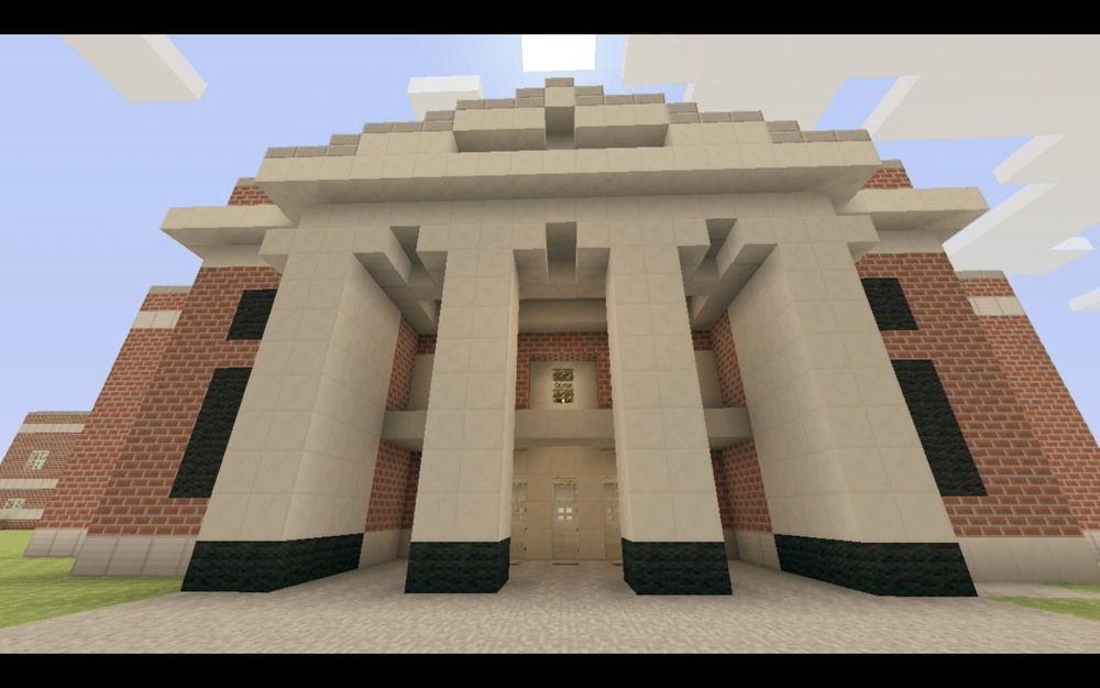 A virtual replica of Georgetown College's library created in Minecraft, work in progress