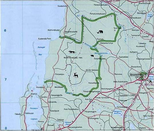 Basic Map of Wilpattu National Park