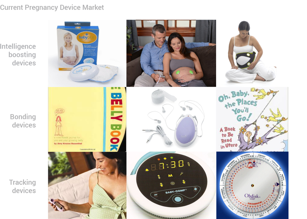 Research:    Looking at the types of pregnancy products that are currently on the market revealed the opportunity to design a bonding device in the technological realm.