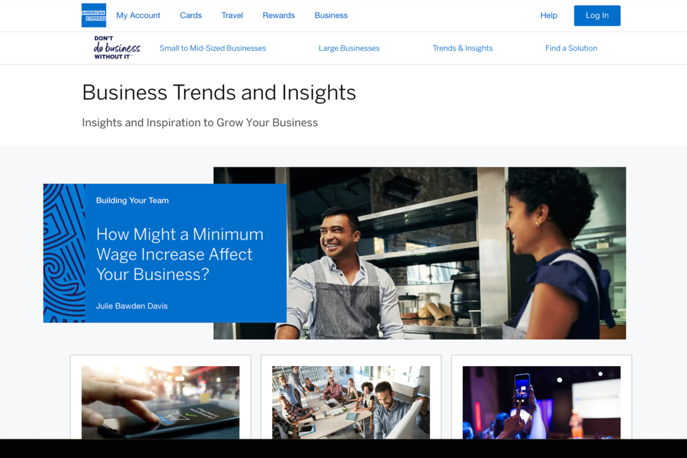 Amex - Future vision and launch of content marketing experience