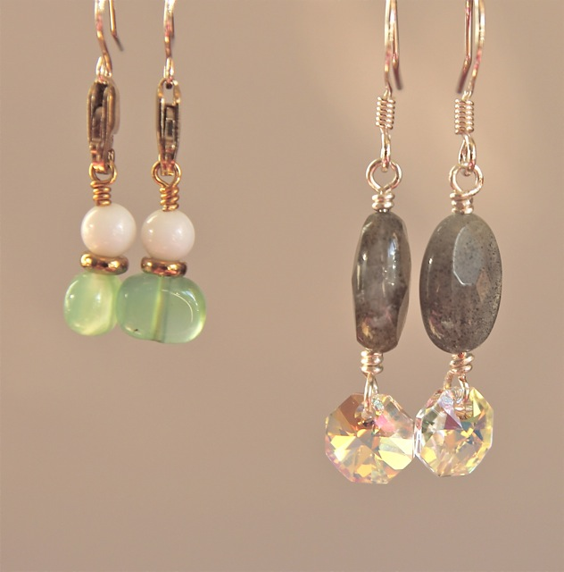 green lobster, labradorite drop earrings