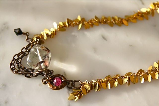 Ruby Ridge (phantom quartz, polki ruby, Swarovski crystal, brass, 22k gold plated sterling silver): Gemma collection