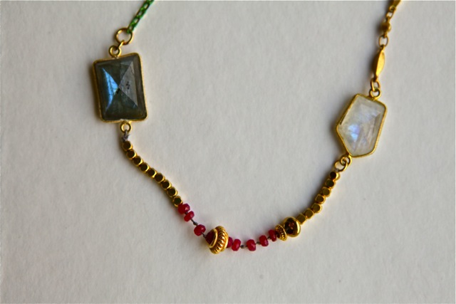 Blue Moon (labradorite, moonstone, ruby, brass, enamel, 22k gold plated sterling silver, silk): Jaipur collection