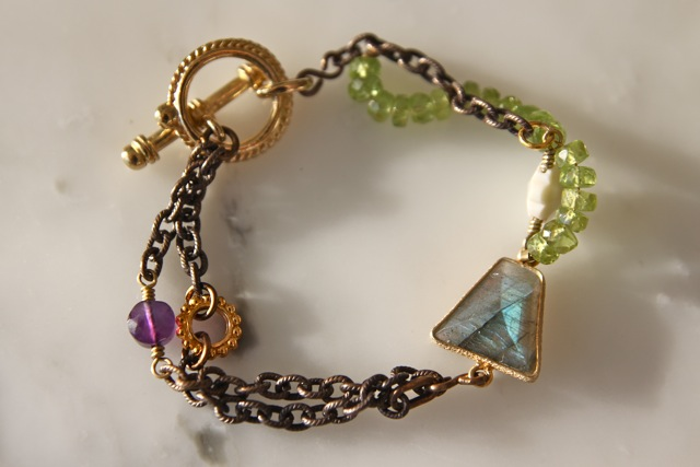 Begin the Beguine (labradorite, amethyst, green quartz, brass, vintage glass, 22k gold plated sterling silver): Jaipur collection