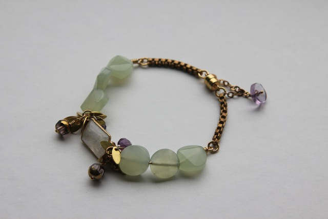 Crocus Green (rainbow moonstone, jade, Kashgar vintage glass, amethyst, brass)