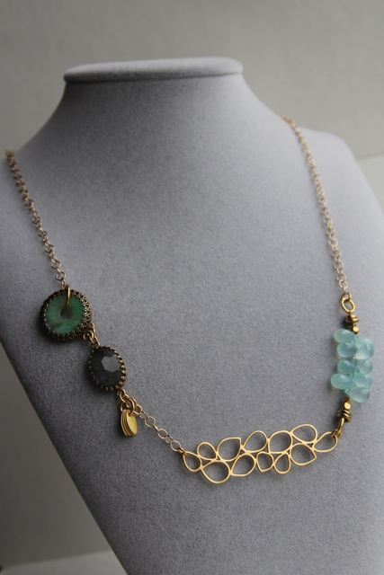 Memory Lane (Australian jade, labradorite, chalcedony, gold plated brass, brass, 22k gold plated sterling silver)
