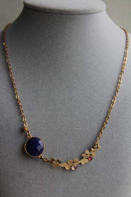 Once in a Blue Moon (lapis lazuli, tourmaline, amethyst, gold plated brass, brass, 22k gold plated sterling silver)