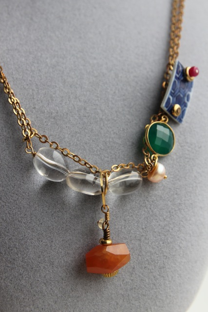 Tortoiseshell (carnelian, green onyx, ruby, Qing dynasty porcelain, pearl, quartz crystal, gold filled brass, brass)