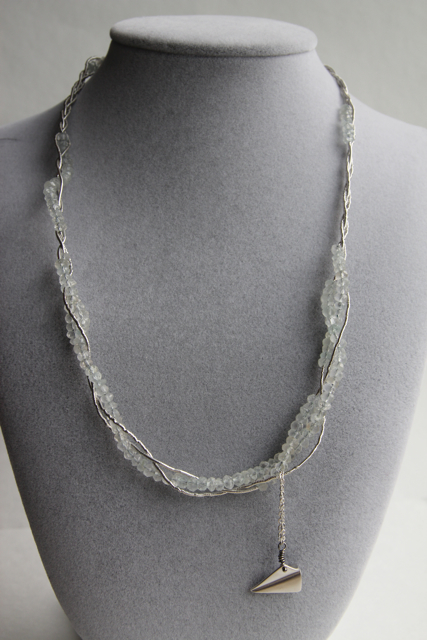 It's a Breeze (aquamarine, sterling silver, rhodium, silver thread