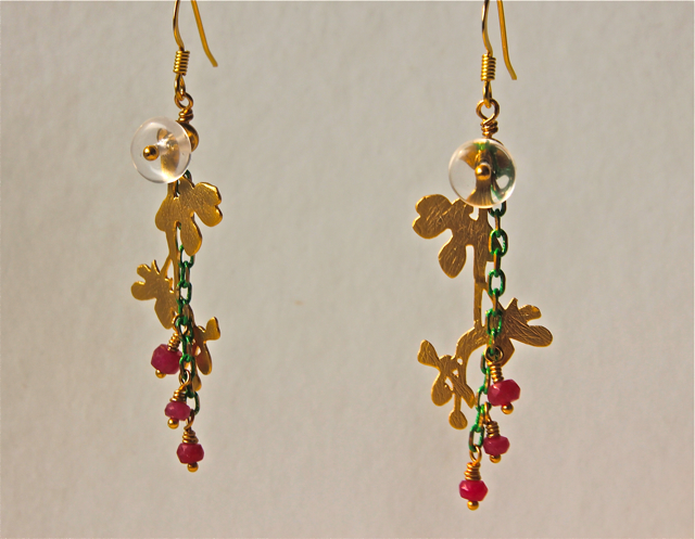 Sun Kissed (ruby, quartz, crystal, gold plated brass, hypoallergenic surgical steel)