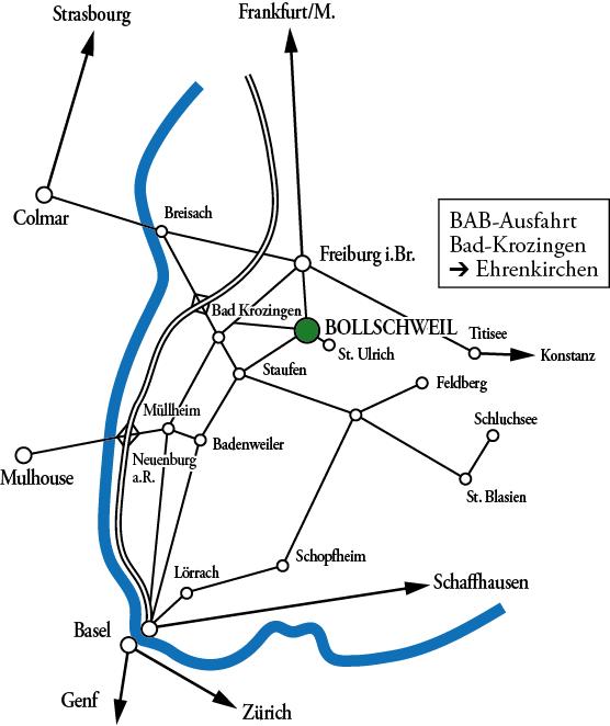 Anfahrtsskizze zur Bo-Gart im Schloss Bollschweil