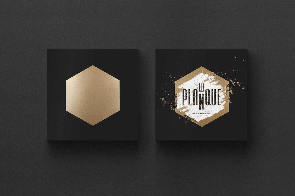 Design graphique-Logo-Carte d'affaires-Restaurant-Branding-La planque-Québec