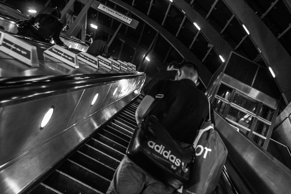 Escalator To Heaven 1/25th at f/3.5, ISO 800 (28mm) Where would I be without public transport? Anywhere but my destination.