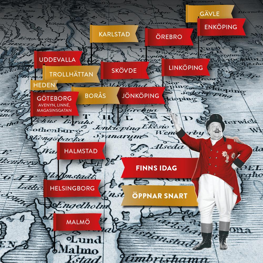 Karta över Pinchos restauranger i Sverige