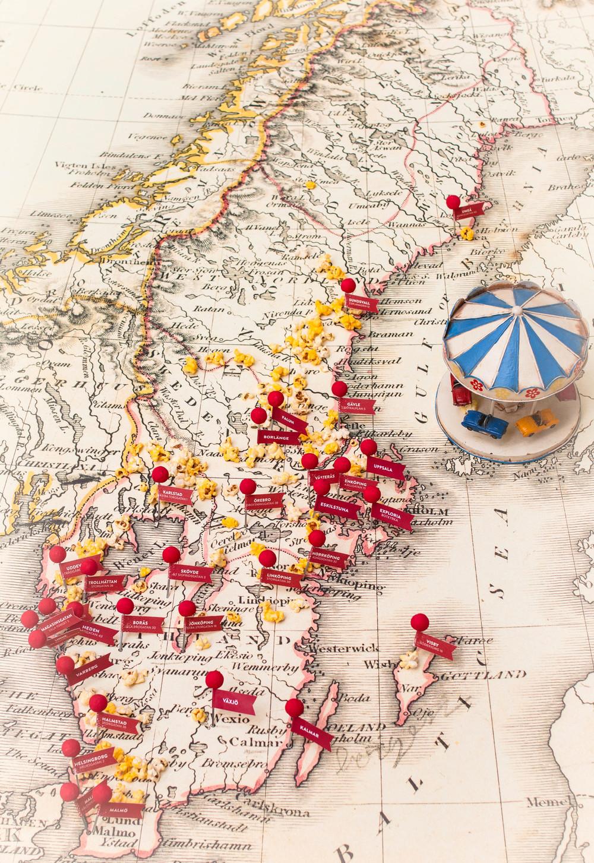 Karta över Pinchos-restauranger i Sverige