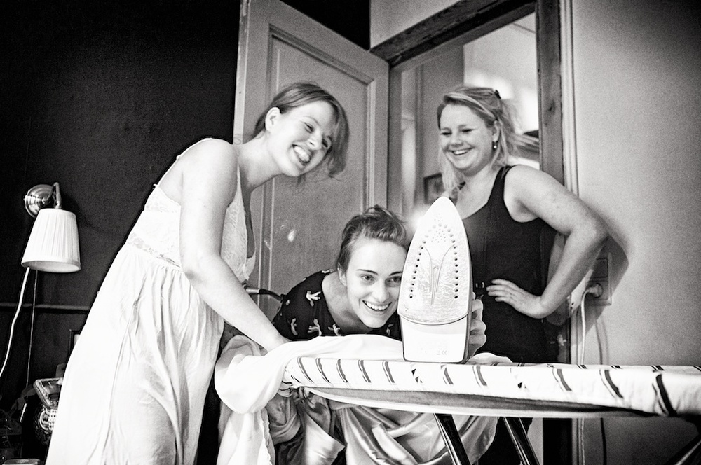 I even needed my two bridesmaids to iron the damn thing! What a fuss!