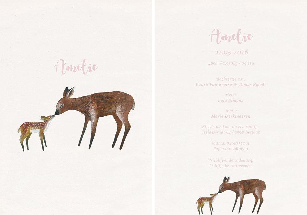 la cabane en voyage-geboortekaartje-Amelie