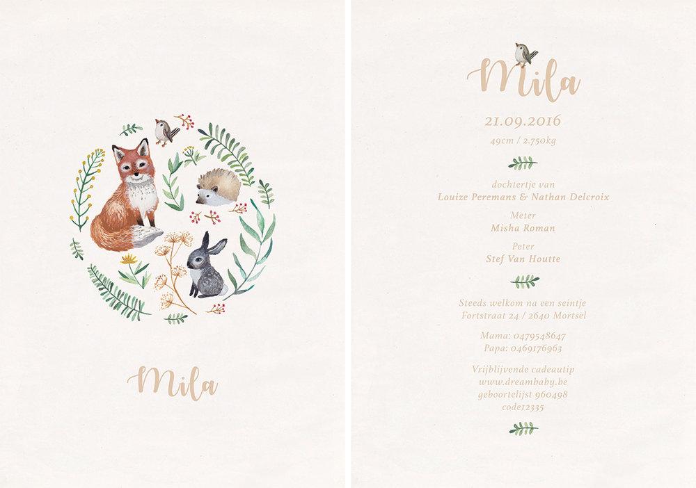 la cabane en voyage-geboortekaartje-Mila