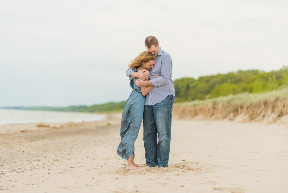 Lauren & Dan Warren Dunes State Park Engagement Session in Sawyer, Michigan