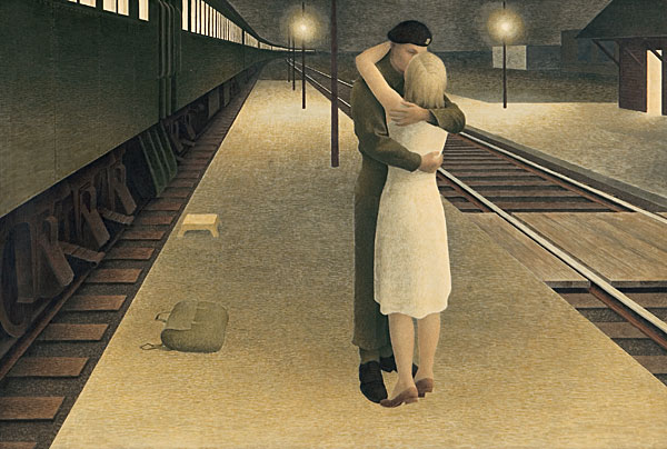 Soldier and Girl at Station / Alex Colville