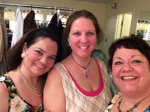 Talented Virginia (Amy Lee), frumpy me (Elizabeth), and amazing Shelley (Hattie)  Can you see the fear in my eyes? This pic was taken moments before we went on!