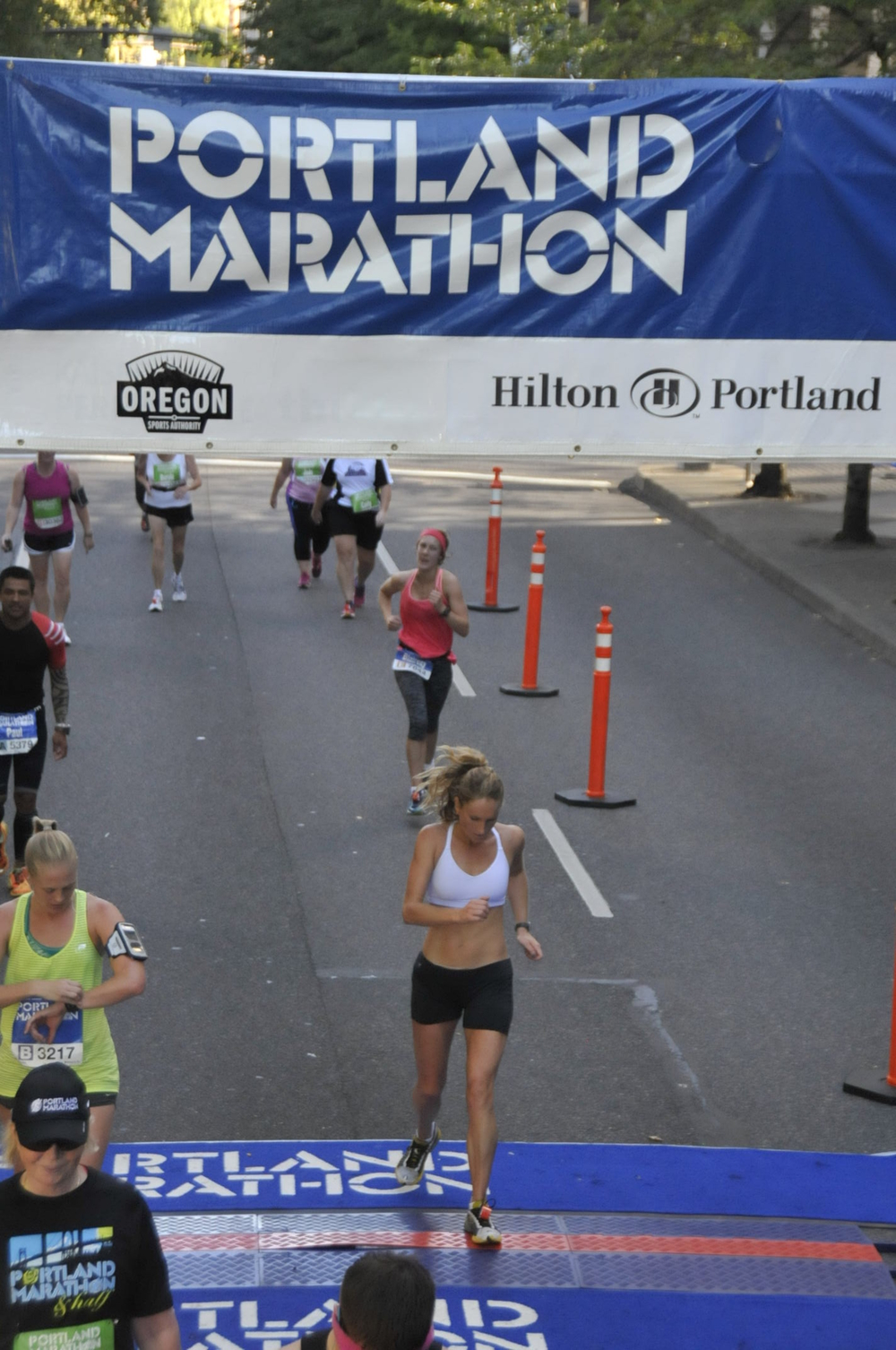 Lulu finishing strong at the Portland Marathon.