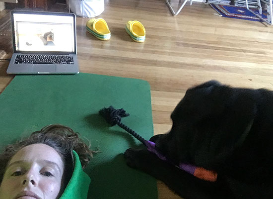 Erin and her yoga buddy.