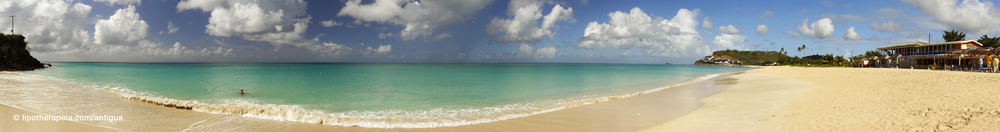 Panoramic view of Darkwood beach, Antigua. Click to display enlarged version.