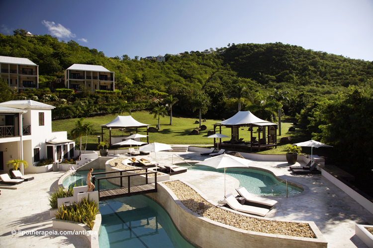Pool and grounds of Sugar Ridge hotel, Antigua