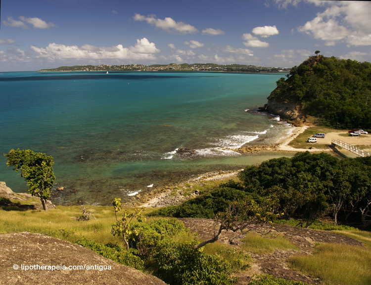 View of the bay of St John from Barrington Fort, Antigua