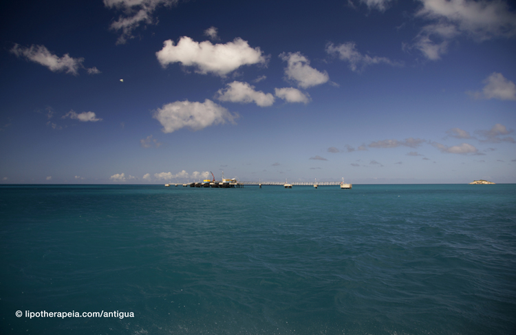 Even the oil tanker dock in Antigua makes for pretty scenery