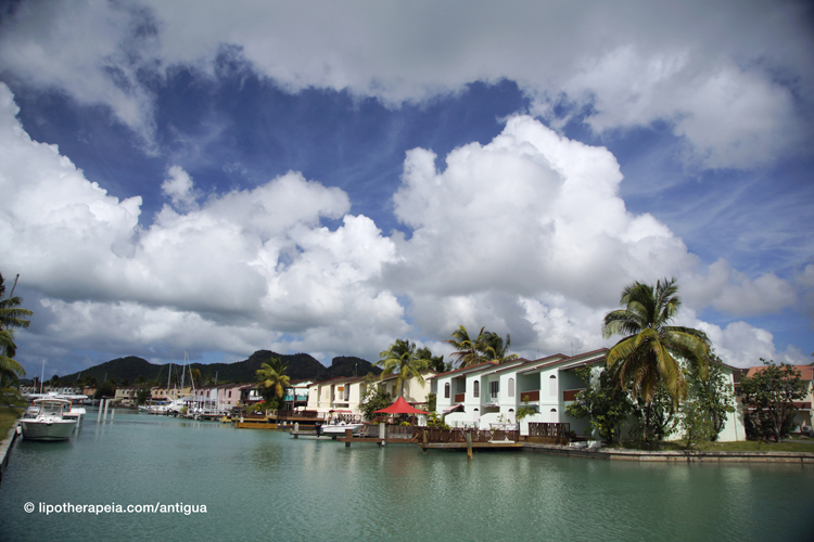 Villas on the waterfront at Jolly Harbour, Antigua