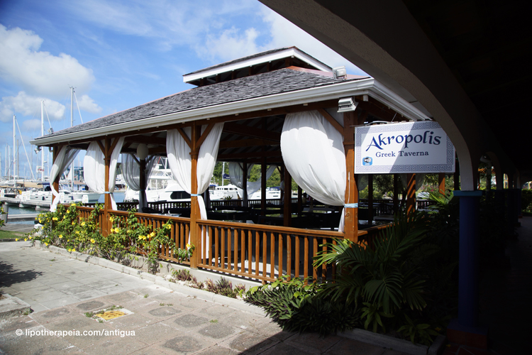 Greek restaurant Acropolis at Jolly Harbour, Antigua