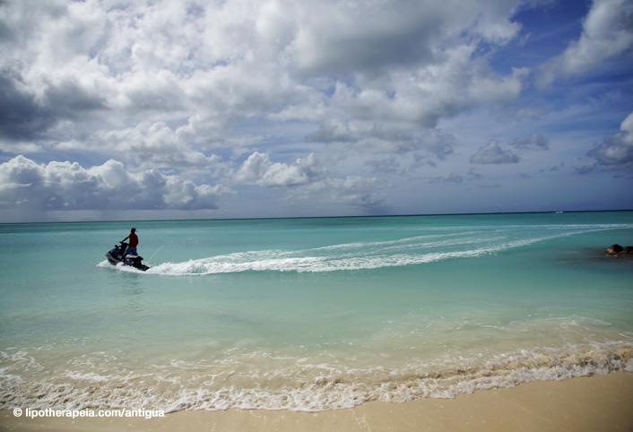 Jet skiing at Jolly Bay, Antigua