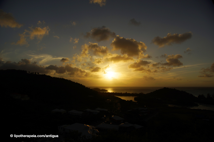 The sunset as seen from Carmichael's, Sugar Ridge hotel, Antigua