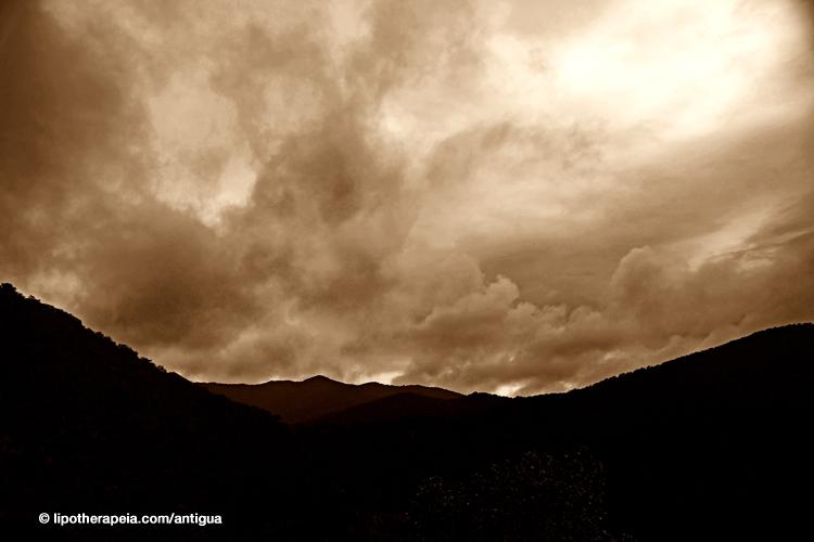 Ominous clouds durng rain, Carmichael's, Sugar Ridge hotel, Antigua