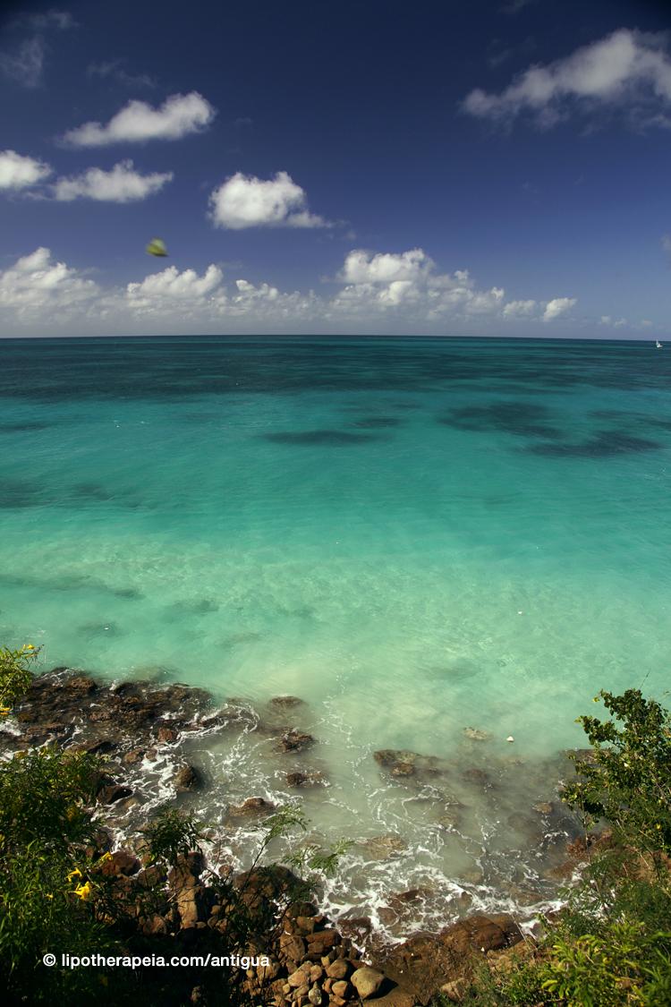 Emerald, azure and blue, all in one scene, near Darkwood beach, Antigua