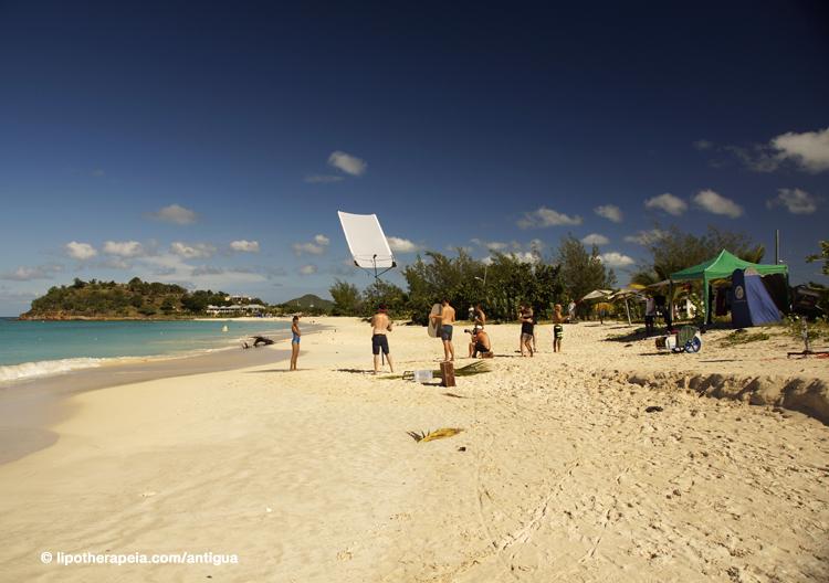 Swimwear fashion shoot at Ffryes beach, Antigua