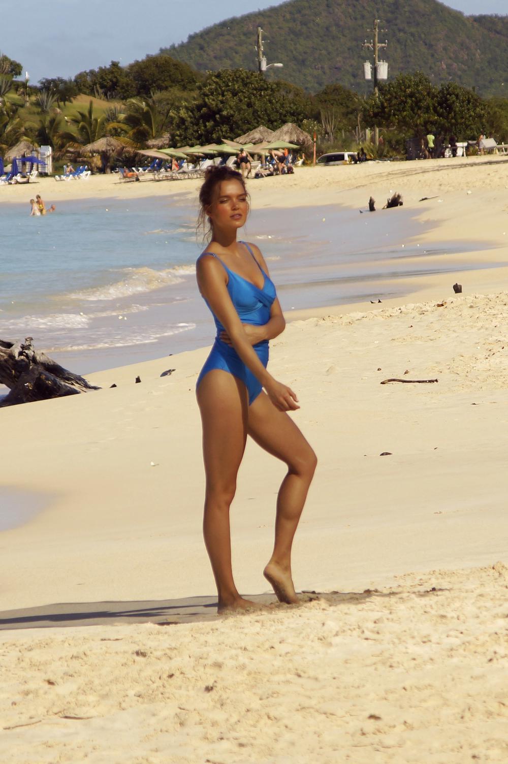 Gatecrashing a swimwear shoot at Ffryes beach, Antigua